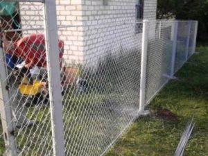 Забор из сетки рабицы с бетонированными столбами фото 2